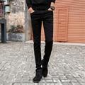 Mens Slim Fit Jeans Casual Reta Calças de Algodão Meados Cintura Elástica Skinny Jeans Lápis Preto para Os Homens 801-1 tamanho 27-36