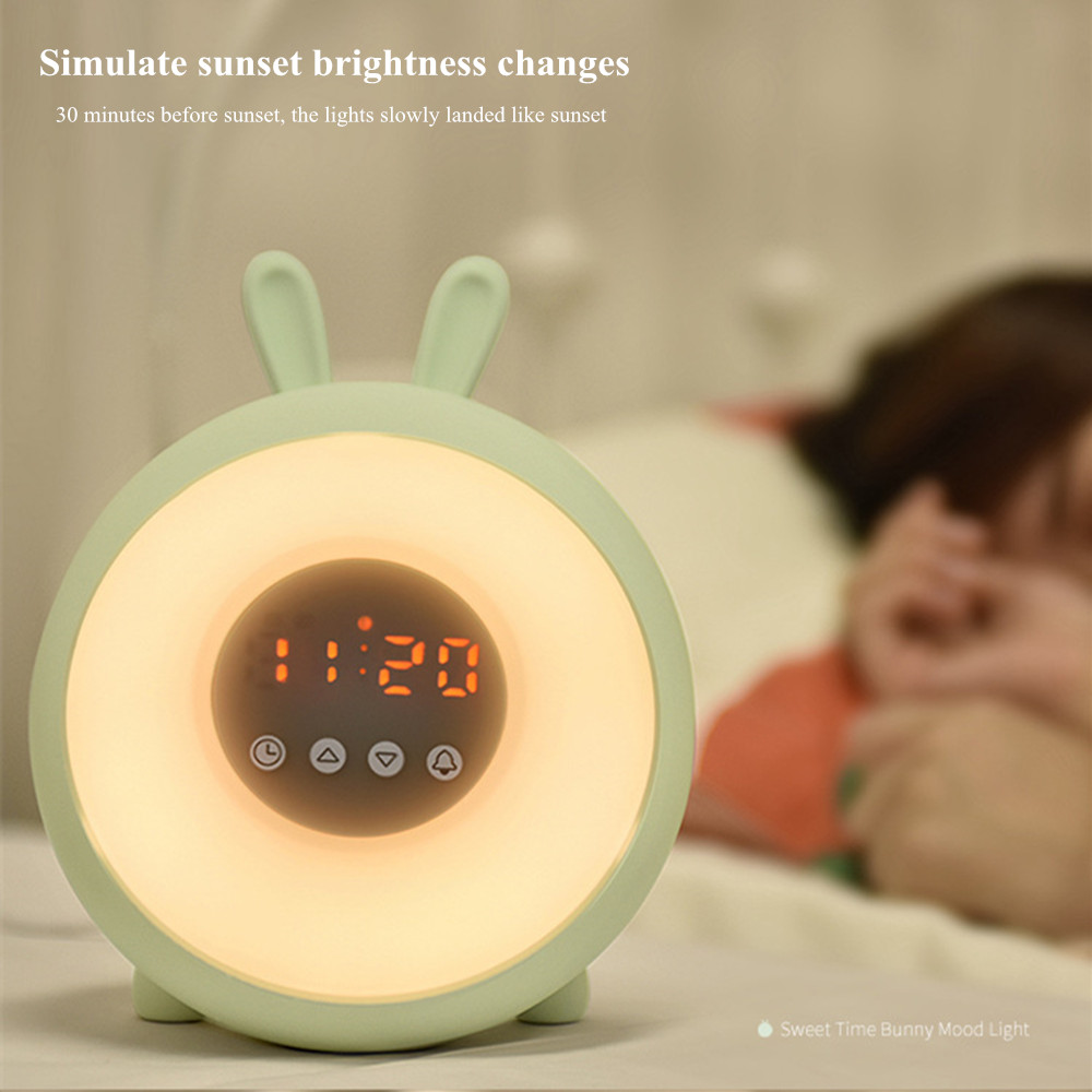 Bunny Alarm Clock with Touch Sensor Colorful LED Night Light Sunrise Sunset Modes Stepless Dimming Rabbit Bedroom Bedside Lamp (4)