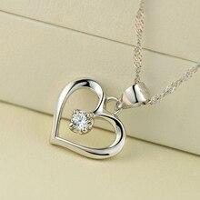 Elegant 925 Sterling Silver Cubic Zirconia CZ Hollow Heart Pendant Necklace Colllar