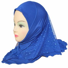 Girls Kids Muslim Hijab Islamic Arab Scarf Shawls with Beautiful Lace Snow Pattern about 45cm for 3 to 8 years old Girls