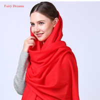 Fairy Dreams Women Cashmere Scarf 100 Wool Scarves 2017 Winter Pashmina Female Poncho Luxury Echarpe Red