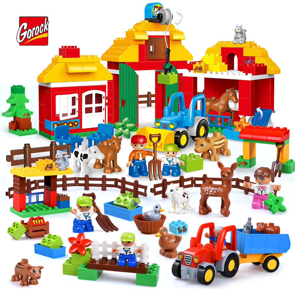 GOROCK Large Particles Happy Farm Series Building Block Sheep Horse Cow Squirrel Duck Animal Paradise Model Brick Toy For Kids umeile brand farm life series large particles diy brick building big blocks kids education toy diy block compatible with duplo