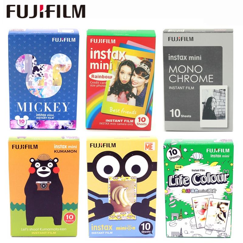 цена на Fujifilm 10 Sheets Film Monochrome Rainbow Macaroon New Mickey Alice For Fuji Instax Mini 7 8 9 50s 7s 90 25 Share SP-1 Instant