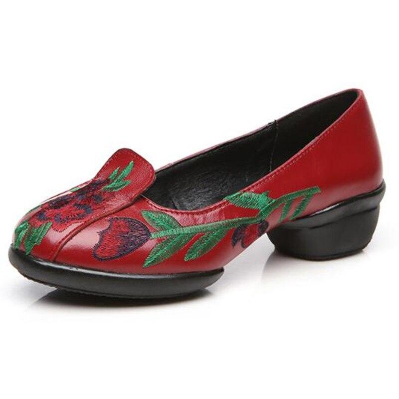 Mujer Suave red 2018 002 Tacón 001 Alta Bailar Bordada Moda Cómodo Zapatos Casual Calidad Mujeres Black Luz 002 De black Bajo Vaca UnpqUwvX