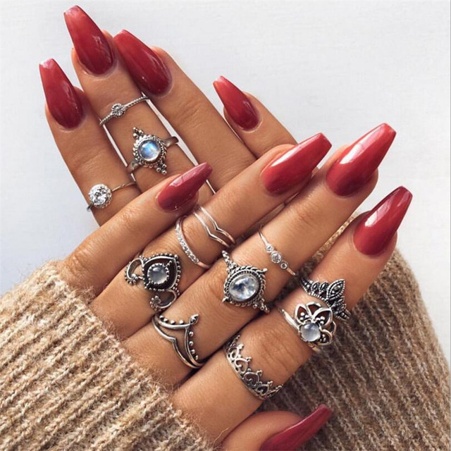 HuaTang Bohemian Antique Silver Ring Geometric Elephant Flower Green Rhinestone Knuckle Rings Midi Finger Anel Rings Jewelry 26