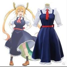 Anime dragón kobayashi-san chi no pierda de kobayashi dama loli outifit tohru dress cosplay maid lolita dress