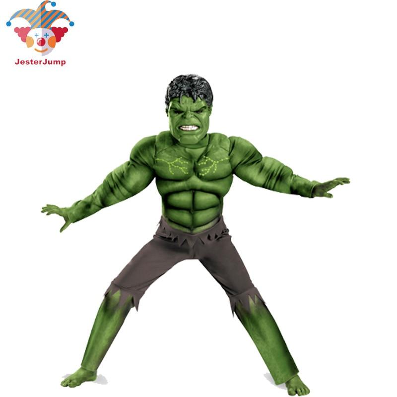 Avenger Hulk Costume For Girls Boy Anime Mask Cosplay Hulk Jumpsuit Rompers Halloween Costume For Children Kid Fantasy Hulk Suit