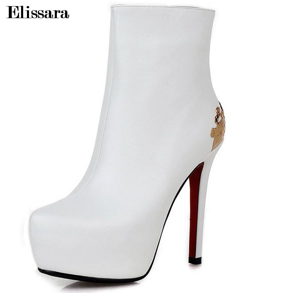 33 Zip Bout Plate Femmes Dames Talons Elissara Plus La Rond Noir forme or 43 blanc Hauts Sexy rouge argent Taille Chaussures À Cheville Bottes pourpre 8YYnPTq