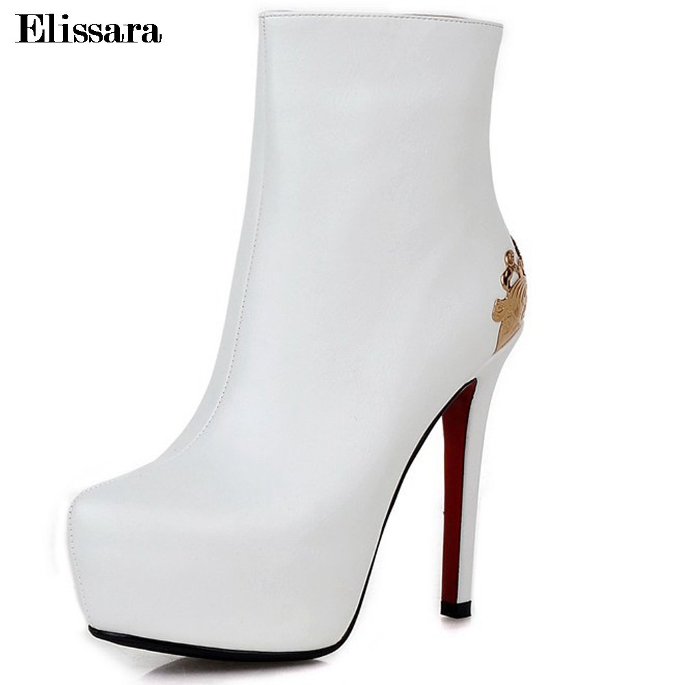 Elissara Women Ankle Boots Women High Heel Boots Ladies Sexy Zip Platform Round Toe Shoes Plus Size 33-43