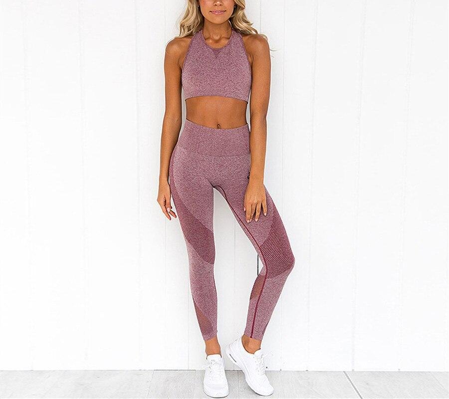 Vutru yoga ensembles à manches longues haut court maille couture yoga fitness survêtement pour femmes sportswear pour femmes sport course
