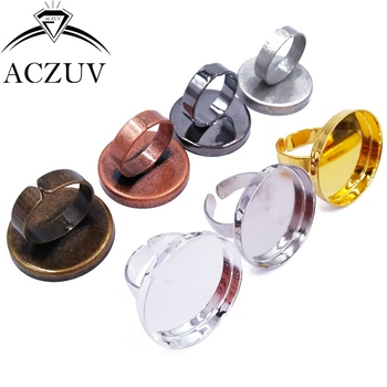100pcs 25mm Round Cabochon Settings Adjustable Ring Blanks Bezel Ring Base Ring Tray Findings RRT001