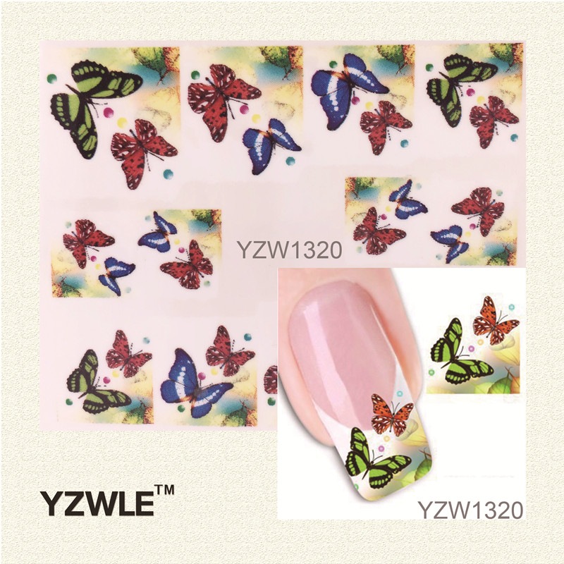 YZWLE 1 Sheet Water Transfer Nail Art Sticker Decal Multi Color Butterfly Design Half Wraps French Manicure Tools yzwle 3d french style white lace bow nail art sticker decal manicure tip nail art decoration xf ju079