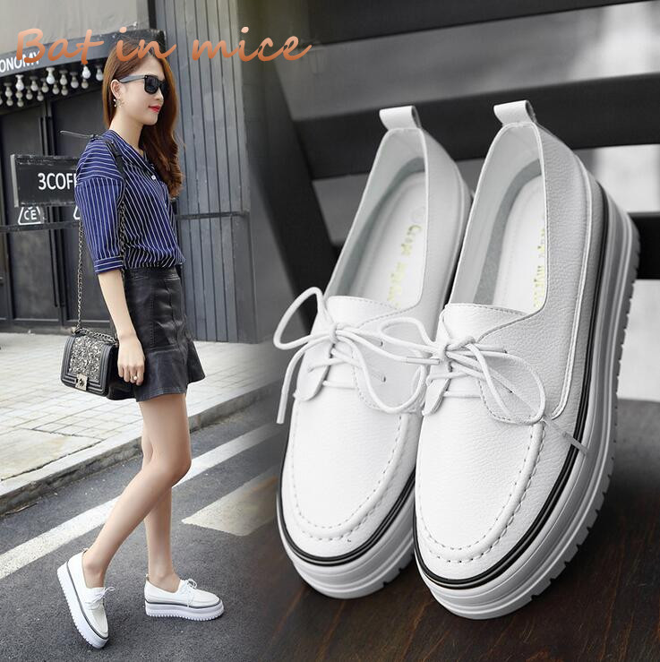 Women's fashion Thick flat Sole Spring Autumn Shoes Woman Platform Casual Shoes Lace Up Footwear Female Flat Oxford Shoes C204 z suo men s shoes the new spring and autumn ankle leather casual shoes fashion retro rubber sole lace mens shoes zsgty16066
