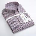 2017 dos homens da Primavera de Manga Longa Contraste Pequeno Casual Xadrez Camisa de Flanela 100% Algodão Conforto Macio Botão Para Baixo Vestido de Gola camisas