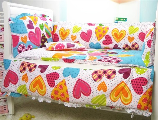 Promoción! 6 unids cuna Set para gemelos de los bebés rosados cuna para la muchacha tela de algodón reactiva, incluyen ( bumpers + hojas + almohada cubre )