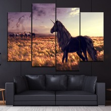 Horse Unicorn Golf Art Grass Wind Painting 4 Piece Style Picture Canvas Print Type Modern Home Decorative Wall Artwork Poster