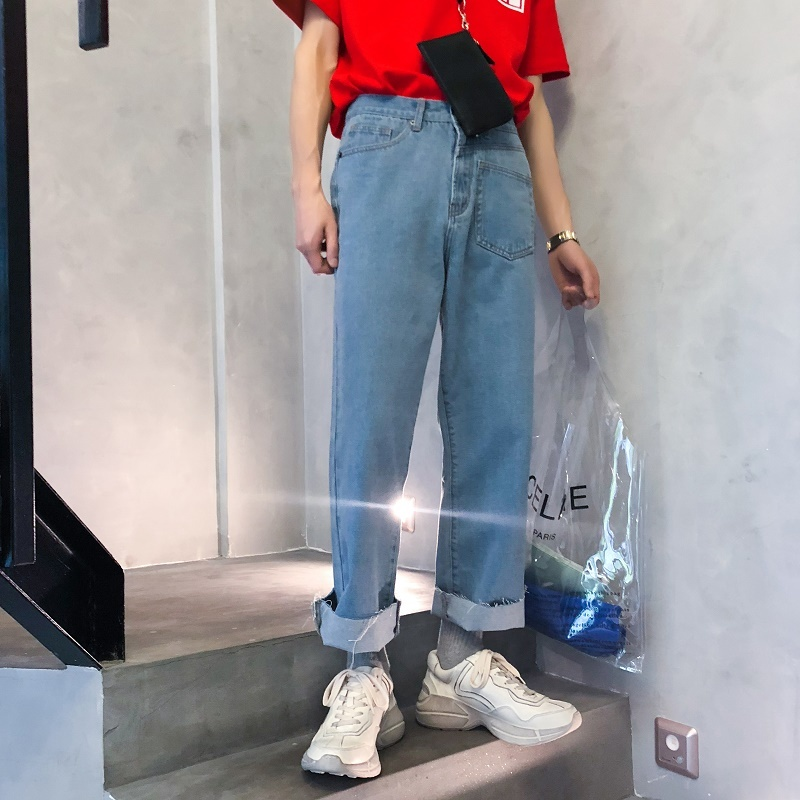 2018 Summer About Irregular Nine Part Cowboy Wide Leg Pants No Lower Than The new listing Fashion Favourite Free shipping blue
