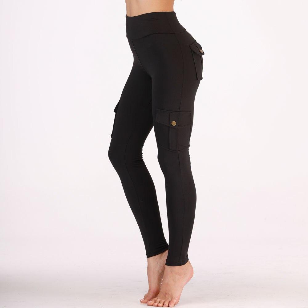 Image 3 - Nessaj High Waist Fitness Leggings Women Pocket Leggings Solid Color Push Up Legging Women Clothing Polyester Leggings-in Leggings from Women's Clothing