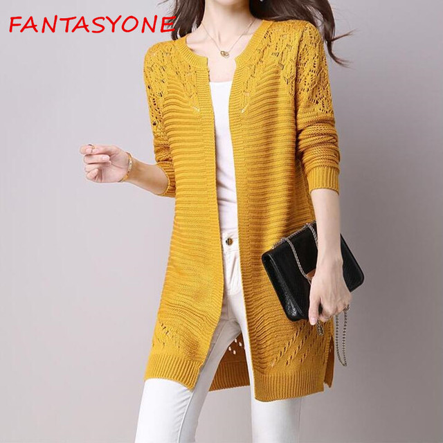 c26fdfa8ba16 FANTASYONE Women Sweater Long Cardigan 2017 Fashion Autumn Winter ...