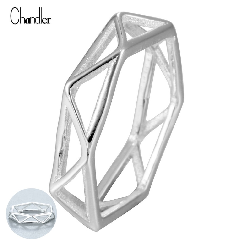 Chandler 925 Sterling Silver Geometrical 3D Triangle Wavy Hollow Ring Classic Finger Band For Womens Lady Lose Money Promotions!