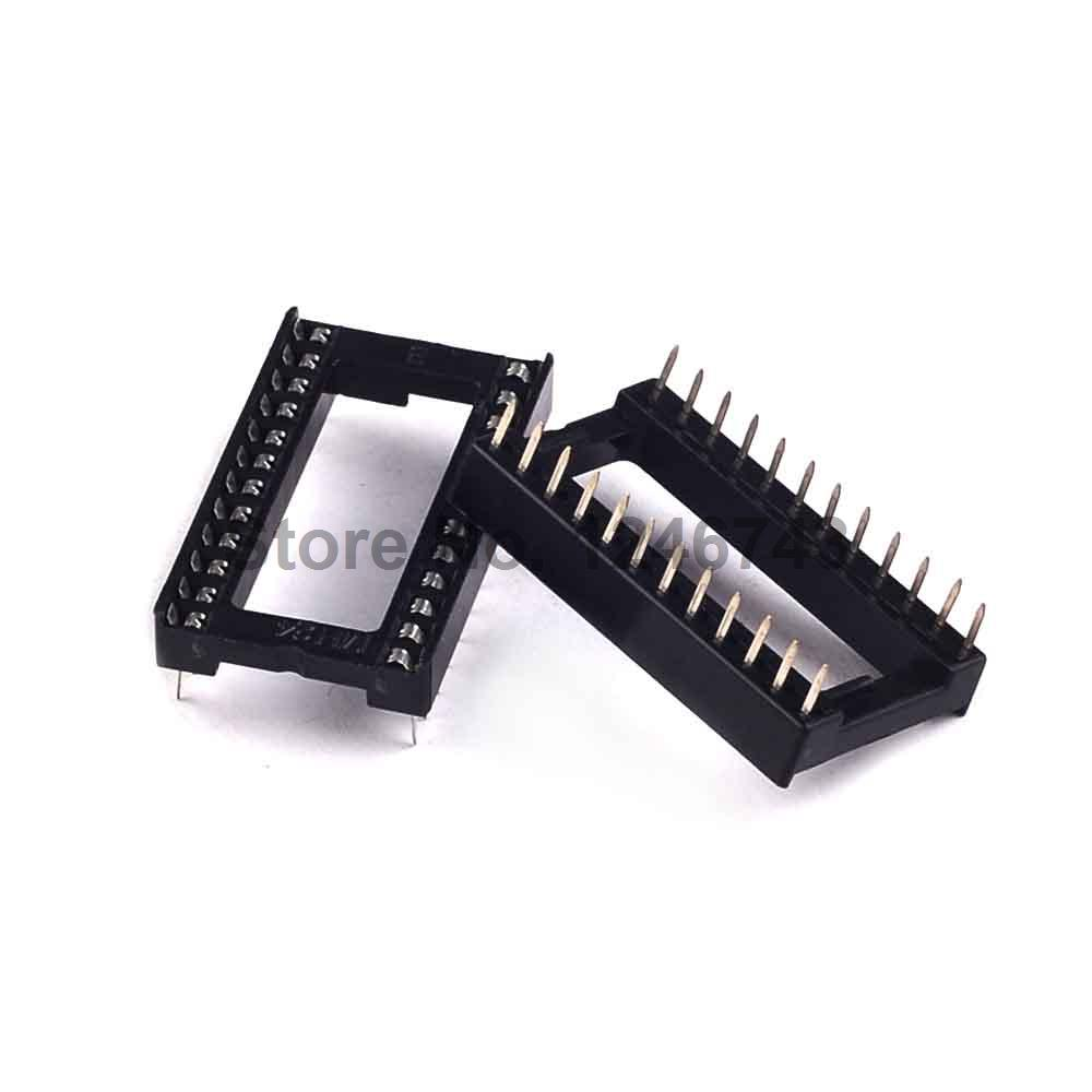 20PCS 24Pin 2.54mm Pitch DIP IC Sockets Square Pin