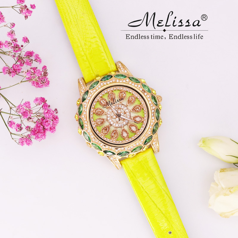 Melissa Lady Women's Watch Hours Japan Quartz Fashion Dress Leather Bracelet Luxury Candy Crystal Hollow Flower Girl's Gift Box melissa lady women s watch big hours japan quartz fashion dress leather clock luxury crystal hollow sun moon girl s gift box