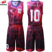Geometric Patterns Unique Design Basketball Jersey Sublimation Printing Custom Basketball Uniform Men Running Kits free