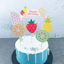 Omilut 6pcs Fruit Birthday Party Decoration Cake Topper Childrens Supplies Hawwai