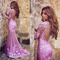 Charming Purple Wedding Dresses 2015 Sexy Open Back Applique Long Sleeves Mermaid Vintage Wedding Dress Bridal Gowns