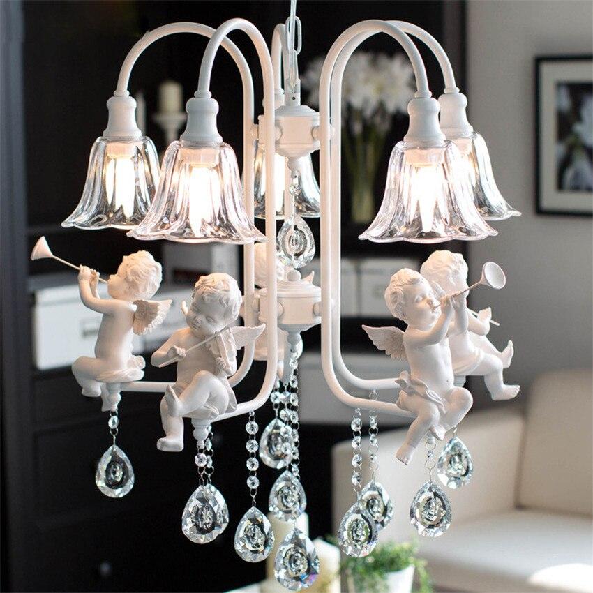 Moderne nordique ange led pendentif lumière, mode Creative Fer Résine Pendentif Lampe Abat-Jour en verre Lampe Suspendue pour La Maison Luminaire