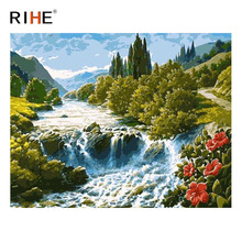 RIHE Stream Forest Diy Painting By Numbers Abstract Waterfall Oil On Canvas Cuadros Decoracion Acrylic Wall Art Picture