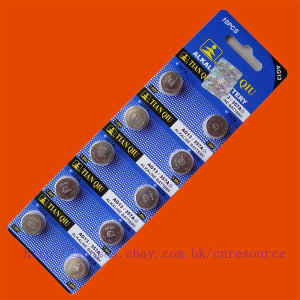 10PCS AG13 LR44 357 SR44SW alkaline battery TIANQIU
