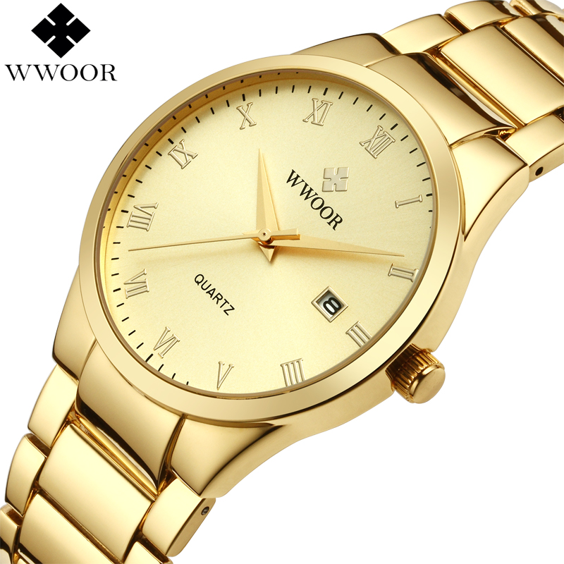 WWOOR Brand Luxury Men Waterproof Business Quartz Watch Men's Analog Date Clock Male Gold Stainless Steel Sport Wrist Watch Gift casual watch men date analog canvas band sports waterproof quartz watch luxury male clock business mens wrist watch