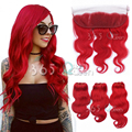 8A Brazilian Soft Virgin Hair Body Wave Weave 3 Bundles With Ear to Ear 13x4 Lace Frontal Closure Red Colour Bleached Knots