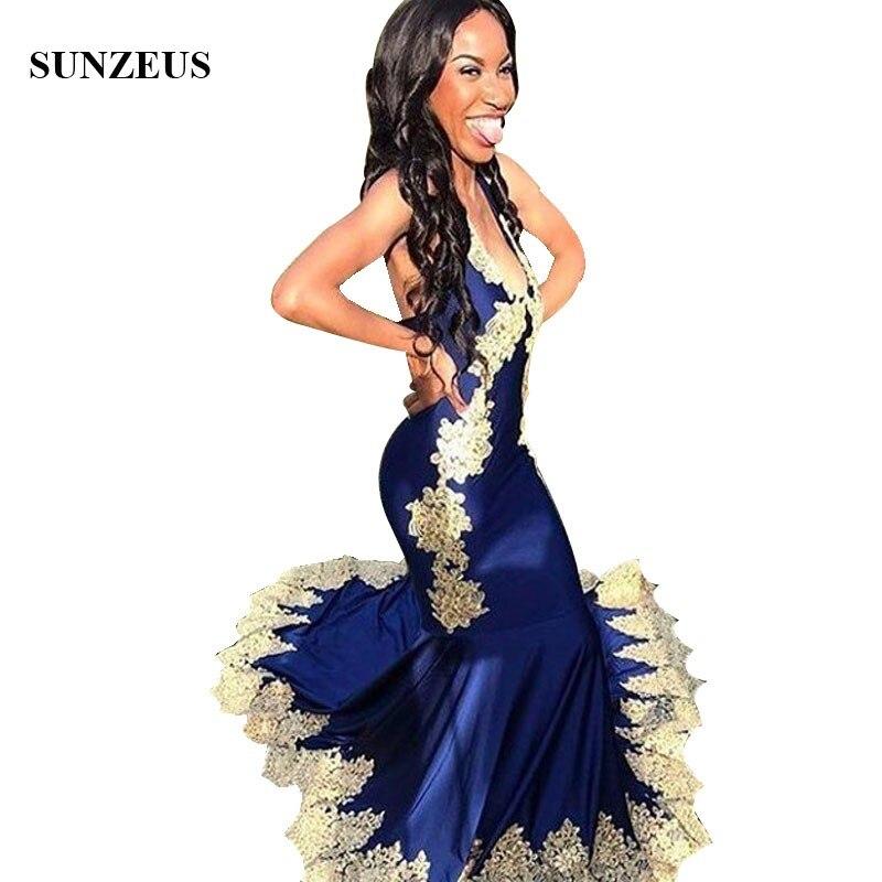 Robes longues pour bal sirène robe de soirée bleu Royal avec dentelle jaune Appliques licou cou femmes robes robes Cerimonia