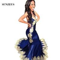 9e1aa9352 Long Dresses For Prom Mermaid Royal Blue Party Dress With Yellow Lace  Appliques Halter Neck Women. Vestidos para el baile de graduación sirena  azul ...