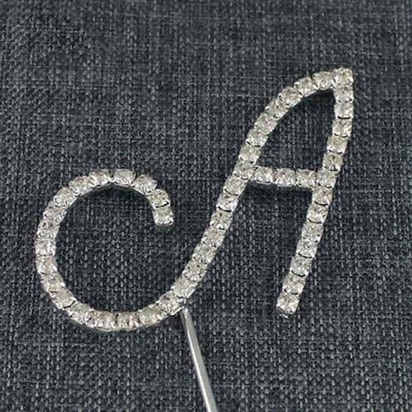 064dfc332f Práctica de plata del alfabeto de la letra del monograma del rhinestone wedding  cake Topper Decoración Un