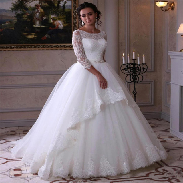 Classic 2016 Spring New Three Quarter Sleeve White Lace Ball Gown ...