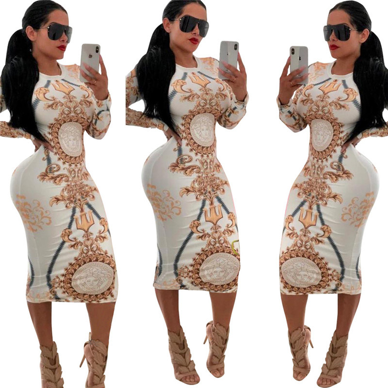 2019 New Arrival Women Vintage Printed Long Sleeve O Neck Sheath Bodycon Dress Spring Autumn Sexy