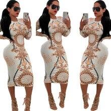 2019 новое поступление женское винтажное печатное платье с длинным рукавом с круглым вырезом облегающее платье весна осень сексуальное посылка ющее платье Vestido