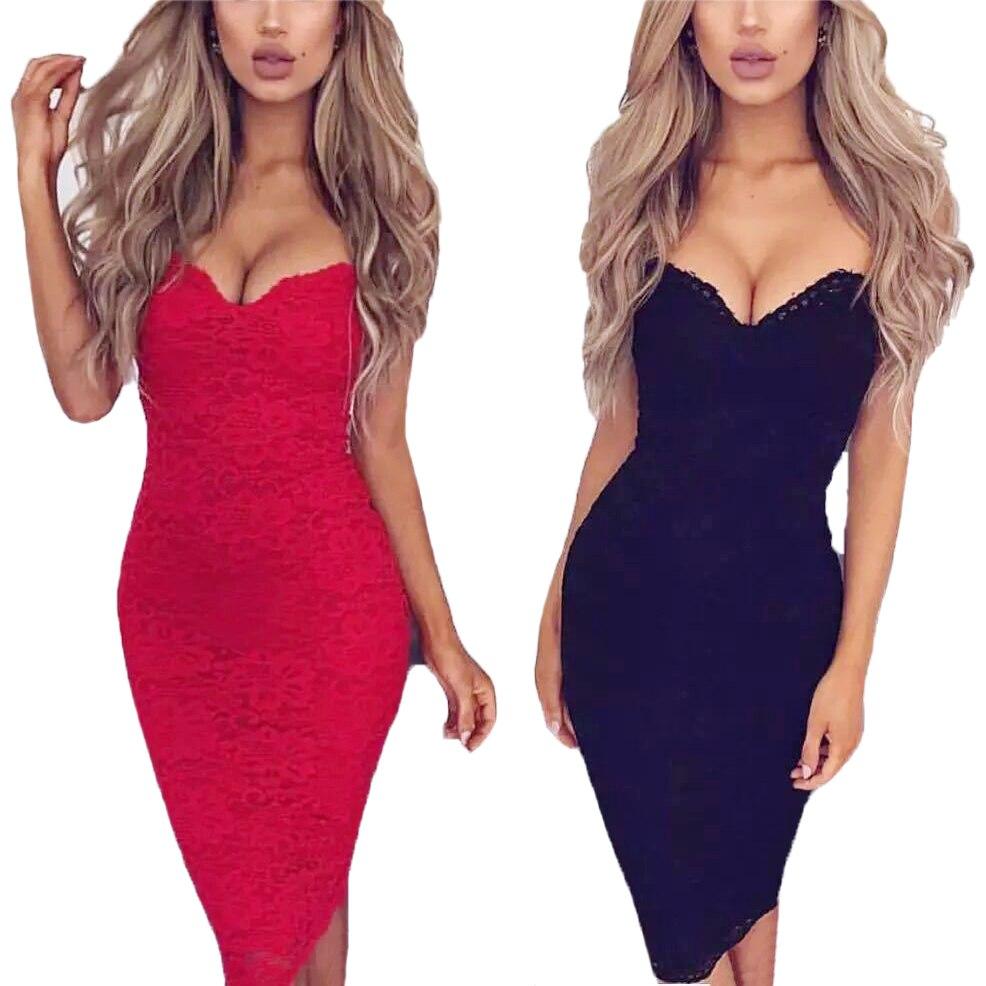 HENGSONG V-neck Slim Slimming Bag Hip Knee Length Lace Dress Women Spaghetti Straps Sleeveless Bodycon Dress Vestido 725040