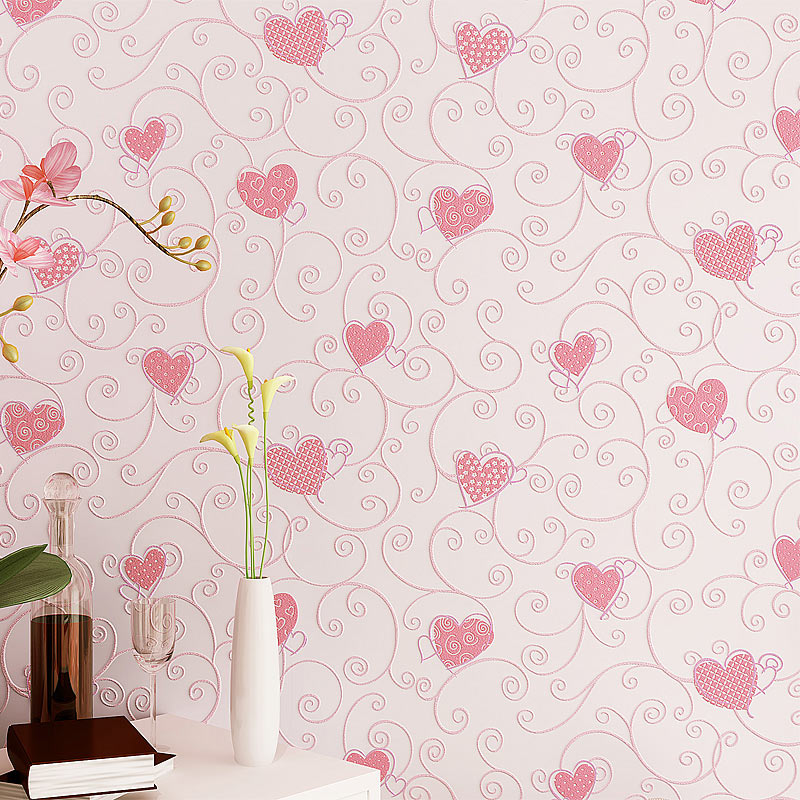 3D Pink Love Heart Cartoon Princess Girl Room Background Wallpaper Roll 3D Embossed Flocking Non Woven Kids Wall Covering Paper 8x10ft valentine s day photography pink love heart shape adult portrait backdrop d 7324