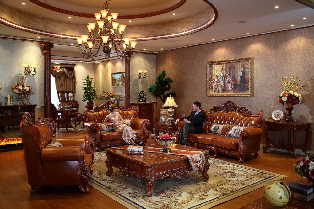 luxe italienne chne rouge bois massif en cuir canaps salon ensembles de meubles de china prf3027 - Salon En Bois Massif Cuire