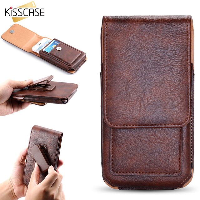 KISSCASE Phone Case For HTC M7 M8 M9 For Samsung Galaxy S8 For Sony Z2 Z3 Z4 Z5 For Huawei Xiaomi Clip Belt Card Slot Waist Bags