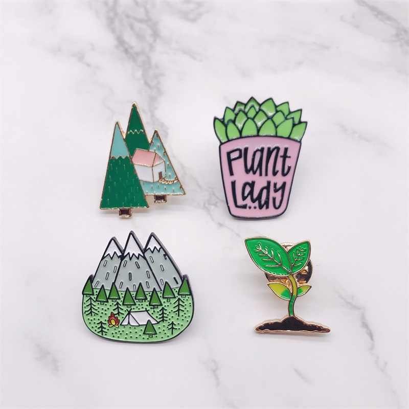 Cartoon Enamel Pins Mountain Peak Plant Lady Button Badges Brooch Bag Hat Shirt Jewelry Fashion Trinket For Friends Jewelry