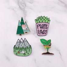 Pinos de esmalte de desenho, broches de desenho para montanha, planta, botão, broche, bolsa, chapéu, joias da moda, trinquete para amigos, joias