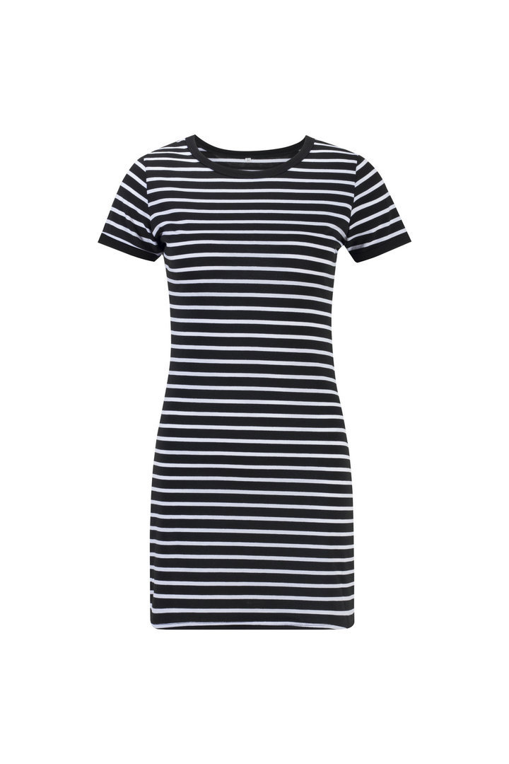 HTB1Gm6cQVzqK1RjSZFoq6zfcXXae Summer Casual Striped O-neck Short-sleeved Dress Black And White Striped Dresses Casual Elegant Sheath Slim Dress