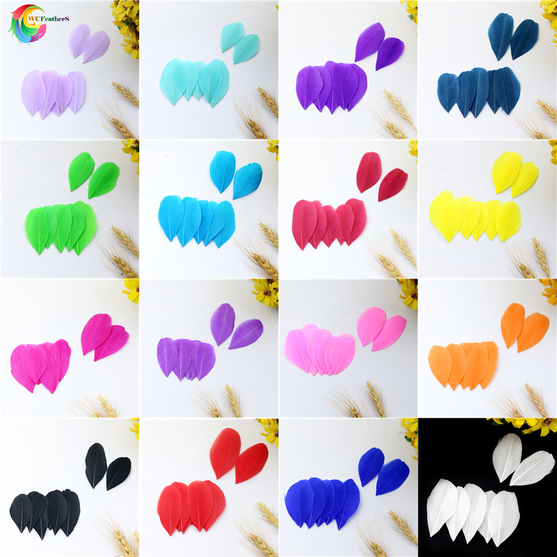 Colorful Wholesale 100pcs/lot Goose Feathers For DIY Craft Jewelry Headdress Plumes 5-8CM For Wedding Dress Decoration Accessory