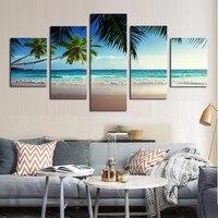 5 Stücke Kokospalme Blauen Himmel Und Ocean Beach Seascape Wandkunst Leinwand Malerei Bilder Bilderrahmen Wohnkultur Gedrucktes Plakat