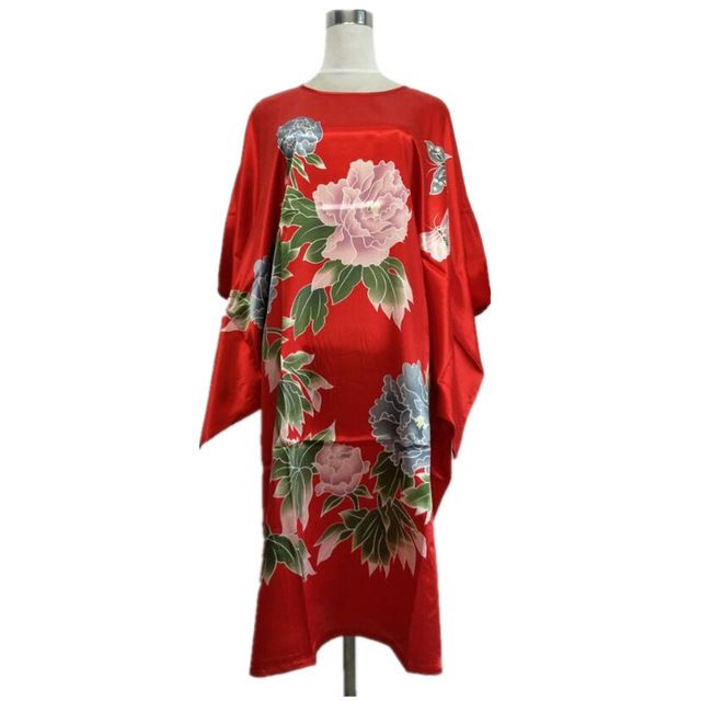 New Arrival Lake Blue Chinese Women Silk Rayon Robe Dress Sexy Summer Printed Floral Nightwear Kimono Bath Gown Flowers One Size